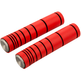 absoluteBLACK Dual Density MTB Silicone Grips with Alu Bar Plugs, fluo red